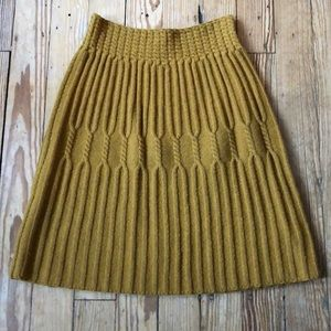 Anthropologie Gold Sweater Skirt Size Small